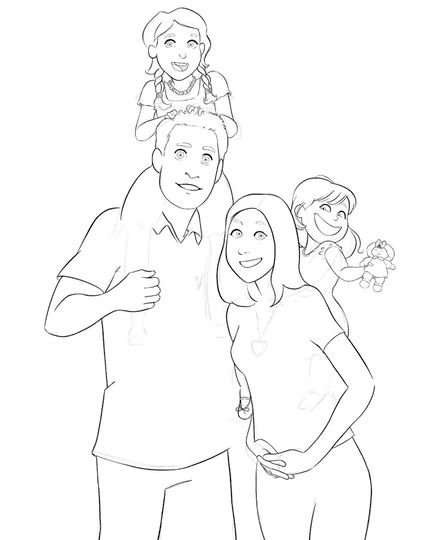 Cartoon Family Portrait | Art Commission | Digital Painting Timelapse Video