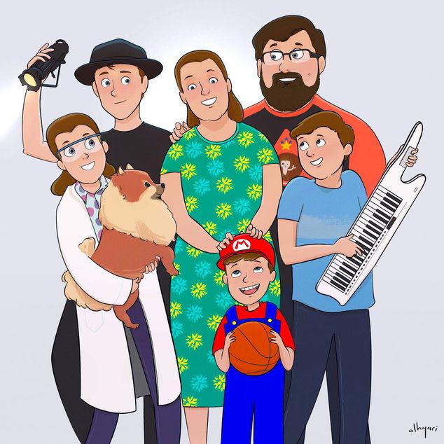 بورتريه عائليّ بأسلوب الكرتون | رسم رقميّ