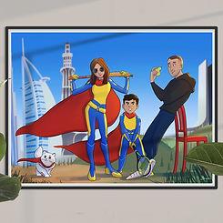 framed-superhero-family-one-boy-and-cat-