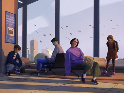 digital narrative painting by freelance digital artist Alhyari, it shows many people in an airport at sunset with their eyes looking at one direction (we see a girl, 2 women and a man with coffee cup)