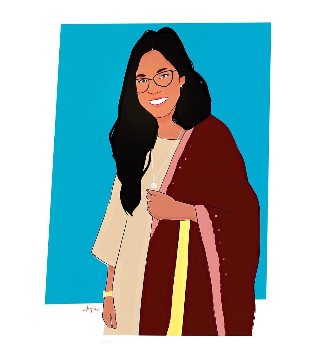 Pakistani girl smiling with glasses. She's wearing a traditional dress | Digital Portrait Painting for Reddit Gets Drawn, by Freelance Digital Artist & Illustrator Alhyari.Art