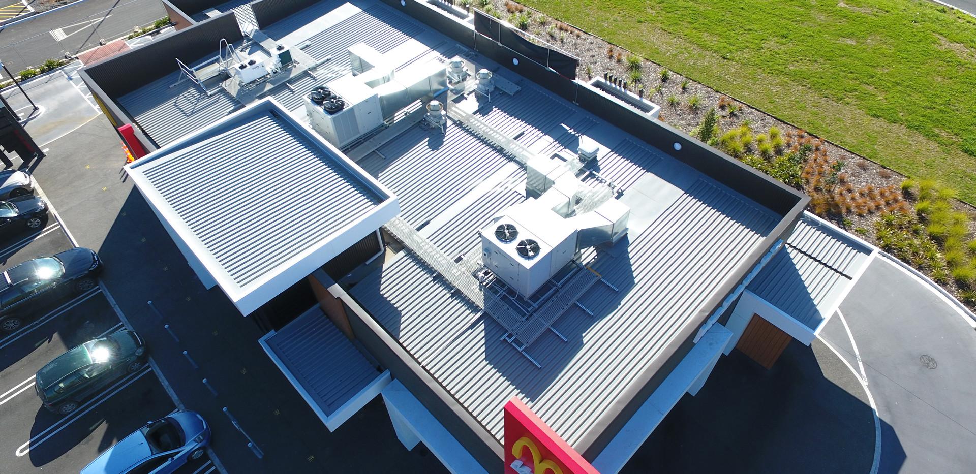 McDonalds Taupiri Architectural aluminium extruded wall panels. PVC membrane gutters Nu-Wall 2