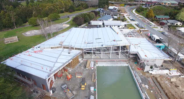 Cambridge Pool Kingspan Warm Roof. TPO Enviroclad Membrane Overlay. Evo Panel Architectural Wall Panels 5