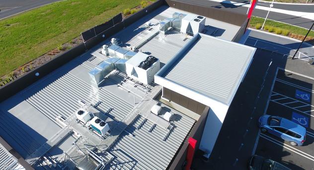 McDonalds Taupiri Architectural aluminium extruded wall panels. PVC membrane gutters Nu-Wall 4