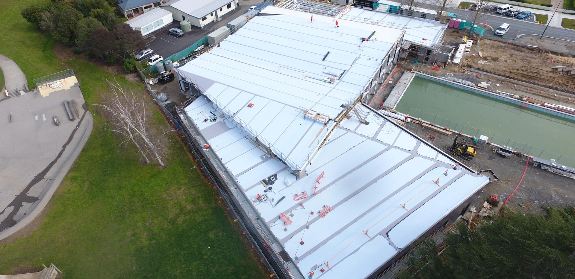Cambridge Pool Kingspan Warm Roof. TPO Enviroclad Membrane Overlay. Evo Panel Architectural Wall Panels 4