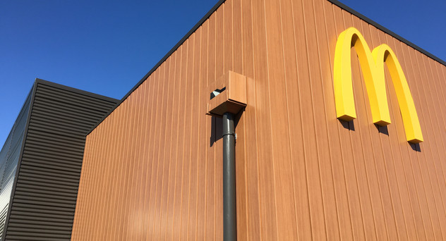 McDonalds Taupiri Architectural aluminium extruded wall panels. PVC membrane gutters Nu-Wall 6
