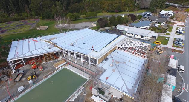 Cambridge Pool Kingspan Warm Roof. TPO Enviroclad Membrane Overlay. Evo Panel Architectural Wall Panels