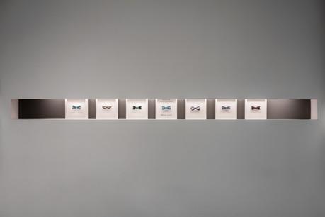 Collezione Farfalle di Dinard, 2017, laser, smalti e vernici su plexiglas, installation view, 235x25cm.