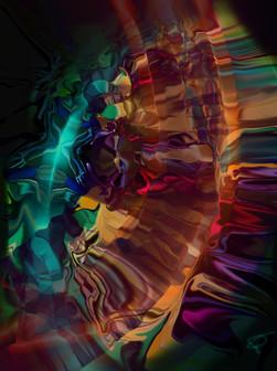 Iris Fervens, 2016, laser, smalti e vernici su plexiglas 100x75 cm.