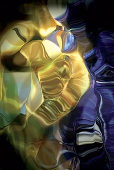 Golden Punk, 2013, laser, smalti e vernici su plexiglas, 40,5x27 cm.
