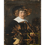 """(2)Jan Hals, like his father Frans, used brown brushstrokes to sketch the composition of """"Portrait of a Man"""" directly onto the canvas. This """"under-painting"""" is not usually visible because even fancy imaging techniques have trouble seeing through black pigments. However, the expressive underpainting is apparent in exposed, damaged areas. We can see that Hals likely changed the position of the hand! #BringBackJanHals #artconservation"""