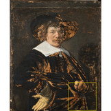 "(2)	Jan Hals, like his father Frans, used brown brushstrokes to sketch the composition of ""Portrait of a Man"" directly onto the canvas. This ""under-painting"" is not usually visible because even fancy imaging techniques have trouble seeing through black pigments. However, the expressive underpainting is apparent in exposed, damaged areas. We can see that Hals likely changed the position of the hand! #BringBackJanHals #artconservation"
