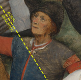 """Scientific analysis shows that """"The Wedding Dance"""" contains smalt, a blue pigment prone to fading. With this information, Becca Goodman, graduate intern in conservation, made a digital simulation of what a small part of the painting might have looked like before the smalt faded. The digital reconstruction also shows how this area might have appeared before the painting underwent a harsh cleaning campaign long before conservation was an established field of trained professionals. #WheresTheBruegel #PieterBruegelTheElder #artconservation @becca.not.rebecca"""