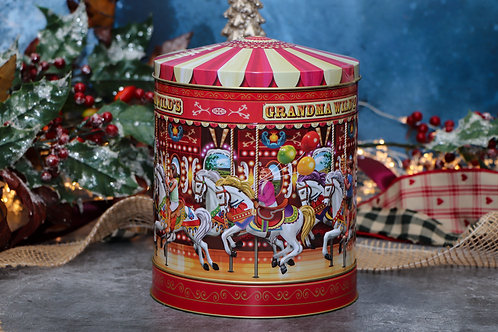 Grandma Wilds Musical Carousel Tin with Chocolate Chip Biscuits