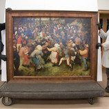 """Did you know? The DIA's """"The Wedding Dance"""" by Pieter Bruegel the Elder is one of only a few of his paintings in this country. Coming 2019-2020, the DIA will host an exhibition about this spectacular painting to celebrate its importance and honor the 450th anniversary of the artist's death. In preparation, the DIA's conservation team will be closely studying the paint, technique, and history of the painting in the lab for the next two weeks. Follow our #WheresTheBruegel posts for daily updates while the work is off view through June 19! _______________ As seen in these photos, our Collections Management team safely deinstalled the painting and moved it to the conservation lab earlier today, where Paintings Conservator Ellen Hanspach-Bernal and Graduate Intern Becca Goodman are examining it. #PieterBruegel #PieterBruegeltheElder #Bruegel #artconservation"""