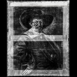 """The x-ray shows that the size of """"Portrait of a Man"""" by Jan Hals was altered, likely to fit a frame that was already chosen for the portrait. The strip at the top of the image is brighter, or more """"radio-opaque,"""" than the rest of the work, confirming that it is a later addition to extend the painting's height. Records indicate that this change occurred before the 1920s. #BringBackJanHals #artconservation #xray"""