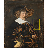 """(2)""""Portrait of a Man"""" by Jan Hals has an inscription, which is very difficult to see in normal light. Scanning X-ray fluorescence (XRF) is a technique used to detect the elements in pigments that are used to make paint. It forms elemental maps so we can better visualize what pigments are present and where they were used. The Latin inscription, composed of iron and copper pigments, indicates the man in the portrait was 31 or 37 years old in 1644. #BringBackJanHals #artconservation"""