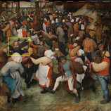 """It's day two of our #WheresTheBruegel series! Now through June 19, our conservation team will be closely studying """"The Wedding Dance"""" by Pieter Bruegel the Elder (one of only a few of his paintings in the U.S.) to prepare for a future exhibition. We're sharing daily updates while the work is off view. _______________ Where's the bride in this lively wedding scene? She can be identified as the only woman with unbound, long hair and wearing a dark dress, as was customary for that time. The Western custom of brides wearing white only came into fashion during the Victorian era in the mid-nineteenth century. #PieterBruegelTheElder #PieterBruegel #artconservation"""