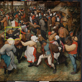 "It's day two of our #WheresTheBruegel series! Now through June 19, our conservation team will be closely studying ""The Wedding Dance"" by Pieter Bruegel the Elder (one of only a few of his paintings in the U.S.) to prepare for a future exhibition. We're sharing daily updates while the work is off view. _______________ Where's the bride in this lively wedding scene? She can be identified as the only woman with unbound, long hair and wearing a dark dress, as was customary for that time. The Western custom of brides wearing white only came into fashion during the Victorian era in the mid-nineteenth century. #PieterBruegelTheElder #PieterBruegel #artconservation"