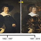 "As part of #BringBackJanHals, we'll be posting about ""Portrait of a Man,"" painted by Jan Hals in 1644 over the next few weeks. This timeline shows how the painting has changed over the last century. The earliest known photo was taken in 1923. By 1935, the painting had gone through a clumsy attempted treatment, likely damaging the original paint in the process. In 1952, the DIA acquired the work, which was treated the same year by conservator Billy Suhr. When Suhr's treatment appeared yellowed and aged in 1997, DIA conservators removed all unoriginal additions, revealing the old damage. You can watch Becca Goodman, Samuel H. Kress Fellow, perform the painting's current treatment every Thursday until April 11. See www.dia.org/conservationlive for more details! #artconservation"
