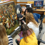 """At the DIA, we are fortunate to collaborate with community partners in Detroit and beyond. This winter, the DIA Conservation department has joined forces with the History of Art Department at the University of Michigan - Ann Arbor to offer an undergraduate mini-seminar called, """"Bruegel Close Up: The Materials and Techniques of Pieter Bruegel the Elder as seen in 'The Wedding Dance."""" Today, the students are presenting their final projects! #WheresTheBruegel #artconservation #UofM #arthistory #education @uofmichigan"""