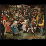 "Many different imaging techniques can be used to help identify how paintings were made and what materials were used in them. In this video, the first image shows a detail of ""The Wedding Dance"" in infrared light, followed by an image of it in visible light. Although we can't see that part of the electromagnetic spectrum, our modified camera can! The image reveals an extensive, precise underdrawing that exists below the paint layers we see today. It also shows some of the artist's changes in the initial stages (note, for instance, the man's feather in his cap and instrument). _______________ Infrared light penetrates most of the paint layers so that they go transparent in the image, but the preparatory drawing was executed with a material that absorbs infrared, so it appears black. The ground layer beneath the drawing reflects infrared, which is why it appears white. #WheresTheBruegel #PieterBruegelTheElder #artconservation"