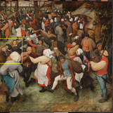 "Bruegel sketched the composition of ""The Wedding Dance"" on the panel before he painted it. The drawing is not visible in normal light, but a modified camera can see it in the infrared spectrum! Becca Goodman, Samuel H. Kress Fellow in Painting Conservation, digitally extracted Bruegel's underdrawing from the infrared image. Today, conservators and curators are looking closely at the extraction to better understand the drawing's relationship to the final painting. #WheresTheBruegel #artconservation #infrared @kressfdn"