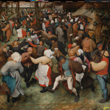 """Can you spot Bruegel's signature? Swipe for the answer! """"The Wedding Dance"""" is dated and signed by the artist, but after 452 years in existence, the signature has sustained quite a bit of damage. In 2013, a super high-res image of the painting was taken, allowing sharp-eyed conservators, imaging specialists and curators to rediscover the text. #WheresTheBruegel _______________ Now through June 19, our conservation team will be closely studying """"The Wedding Dance"""" by Pieter Bruegel the Elder (one of only a few of his paintings in the U.S.) to prepare for a future exhibition. We're sharing daily updates while the work is off view. #PieterBruegelTheElder #artconservation"""