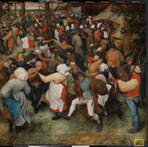 "Can you spot Bruegel's signature? Swipe for the answer! ""The Wedding Dance"" is dated and signed by the artist, but after 452 years in existence, the signature has sustained quite a bit of damage. In 2013, a super high-res image of the painting was taken, allowing sharp-eyed conservators, imaging specialists and curators to rediscover the text. #WheresTheBruegel _______________ Now through June 19, our conservation team will be closely studying ""The Wedding Dance"" by Pieter Bruegel the Elder (one of only a few of his paintings in the U.S.) to prepare for a future exhibition. We're sharing daily updates while the work is off view. #PieterBruegelTheElder #artconservation"