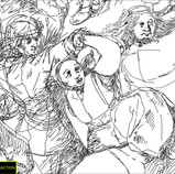 """Bruegel sketched the composition of """"The Wedding Dance"""" on the panel before he painted it. The drawing is not visible in normal light, but a modified camera can see it in the infrared spectrum! Becca Goodman, Samuel H. Kress Fellow in Painting Conservation, digitally extracted Bruegel's underdrawing from the infrared image. Today, conservators and curators are looking closely at the extraction to better understand the drawing's relationship to the final painting. #WheresTheBruegel #artconservation #infrared @kressfdn"""