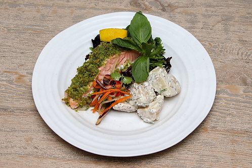 Salmon Fillets and Pesto Crumb - (excluding salad) See further info