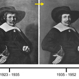 """As part of #BringBackJanHals, we'll be posting about """"Portrait of a Man,"""" painted by Jan Hals in 1644 over the next few weeks. This timeline shows how the painting has changed over the last century. The earliest known photo was taken in 1923. By 1935, the painting had gone through a clumsy attempted treatment, likely damaging the original paint in the process. In 1952, the DIA acquired the work, which was treated the same year by conservator Billy Suhr. When Suhr's treatment appeared yellowed and aged in 1997, DIA conservators removed all unoriginal additions, revealing the old damage. You can watch Becca Goodman, Samuel H. Kress Fellow, perform the painting's current treatment every Thursday until April 11. See www.dia.org/conservationlive for more details! #artconservation"""