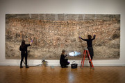 """Great news! There are still three weeks left of Conservation Live! Watch DIA Conservators prepare """"Das Geviert"""" by Anselm Kiefer to be safely taken down (or deinstalled) every Thursday and Friday until January 10 from 10am-12pm and 1pm-3pm. Outside of these times, visitors are welcome to ask questions. Don't miss 5-minute talks about the conservators' progress each Thursday and Friday at 11am and 2pm! Visit https://www.dia.org/events/conservation-live-back for more details.  #BehindTheScenesDIA #artconservation#anselmkiefer"""