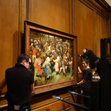 """It's time for another round of #WheresTheBruegel! Coming December 1, 2019 to September 6, 2020, the DIA will present an exhibition about """"The Wedding Dance"""" by Pieter Bruegel the Elder to celebrate its importance and honor the 450th anniversary of the artist's death. Using the lens of art conservation, the exhibition will trace the life of the painting from its creation to the present. In preparation, the DIA and outside experts will closely study the painting in the lab. Follow our #WheresTheBruegel posts for updates while the work is off view! As seen in these photos, our collections management team safely de-installed the painting and moved it to the conservation lab earlier today. #PieterBruegel #artconservation"""