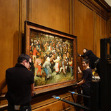 "It's time for another round of #WheresTheBruegel! Coming December 1, 2019 to September 6, 2020, the DIA will present an exhibition about ""The Wedding Dance"" by Pieter Bruegel the Elder to celebrate its importance and honor the 450th anniversary of the artist's death. Using the lens of art conservation, the exhibition will trace the life of the painting from its creation to the present. In preparation, the DIA and outside experts will closely study the painting in the lab. Follow our #WheresTheBruegel posts for updates while the work is off view! As seen in these photos, our collections management team safely de-installed the painting and moved it to the conservation lab earlier today. #PieterBruegel #artconservation"