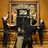 """""""The Wedding Dance"""" is back on view! We hope you enjoyed our behind-the-scenes series over the past two weeks. Stay tuned for more information about our future exhibition focusing on this painting in 2019-2020. #WheresTheBruegel #PieterBruegelTheElder #artconservation"""