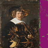 "DIA conservators analyzed ""Portrait of a Man"" to determine how much of Jan Hals's original paint remains. This diagram shows that his paint—highlighted in purple—still covers nearly 85% of the canvas. The green areas indicate where the original paint has been damaged and lost before the work came into the DIA's collection. #BringBackJanHals #artconservation"