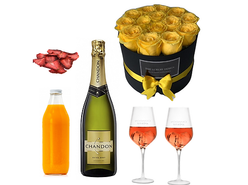 Kit de Mimosas Chandon con copas y Rosas.