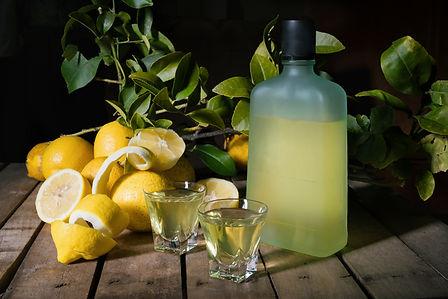 Traditional homemade lemon liqueur limon