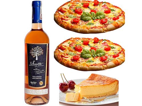 Pizza Con Amore ( 2 Pizzas + Botella de Vino +  Postre) para hacer en casa