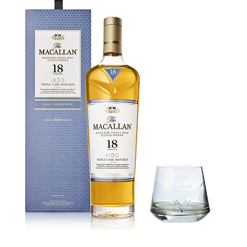 Macallan 18 Triple Cask + Vaso Roca