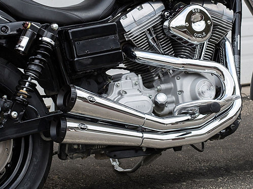 Grand National 2-into-2 Exhaust – Chrome with Black End Caps. Fits Dyna 2006-201