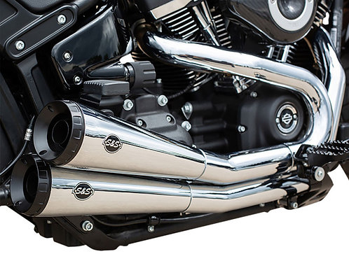Grand National 2-into-2 Exhaust – Chrome with Black End Caps. Fits Street Bob, L