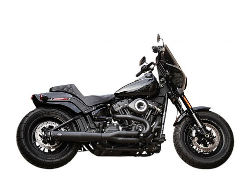 2-into-1 SuperStreet Exhaust – Black with Black End Cap. Fits Softail 2018up Non