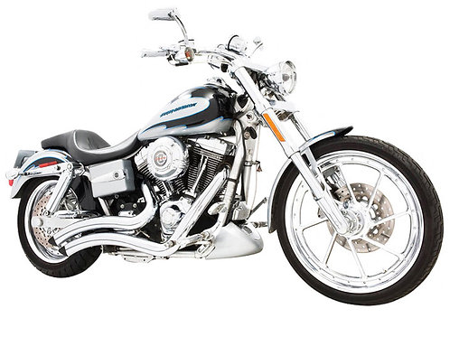 Sharp Curve Radius Exhaust – Chrome. Fits Dyna 1991-2005.
