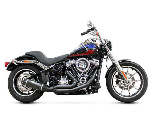 Bob Cat 2-into-1 Exhaust – Black with Carbon Fibre Sleeve Muffler. Fits Softail