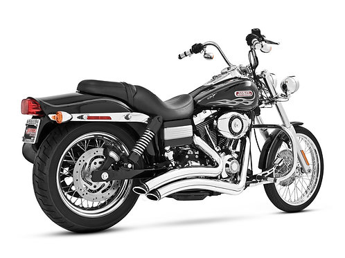 Sharp Curve Radius Exhaust – Chrome with Black End Caps. Fits Dyna 2006-2017.
