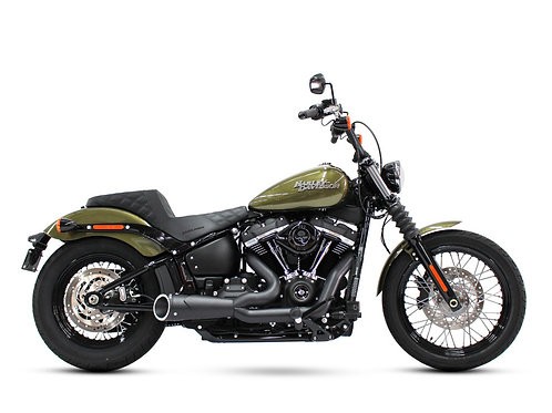 Combat Shorty 2-into-1 Exhaust – Black with Black End Cap. Fits Softail 2018up.