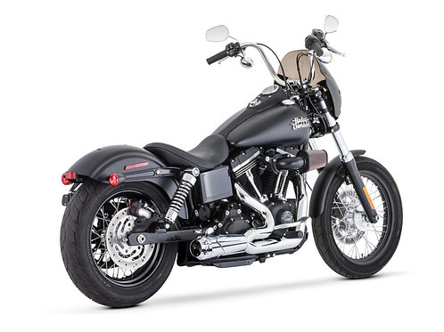 American Outlaw Shorty 2-into-1 Exhaust – Chrome with Chrome End Cap. Fits Dyna