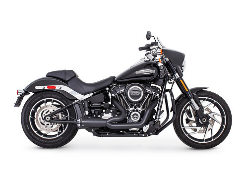American Outlaw Shorty 2-into-1 Exhaust – Black with Black End Cap. Fits Softail